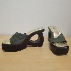 90's Chunky Wooden Platform Wedges